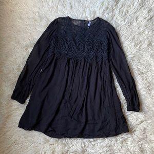Goth Boho Black Lace Babydoll Dress Sz S